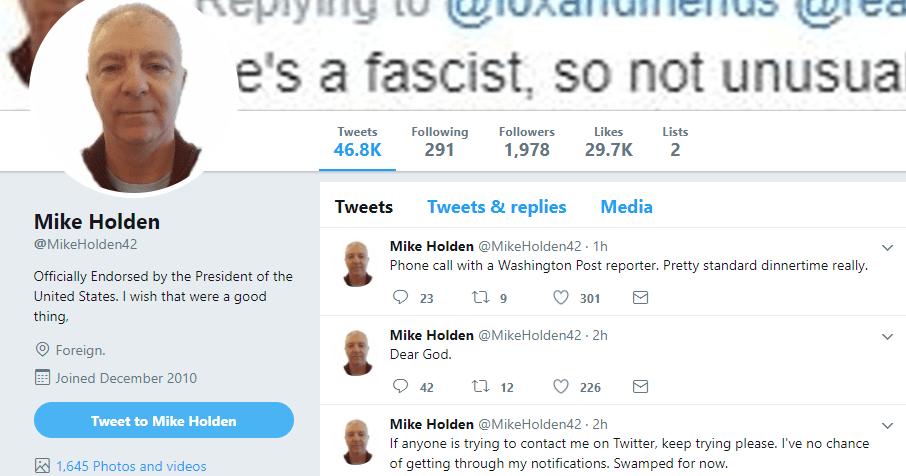 Twitter de Mike Holden después de que Trump reuiteó un mensaje suyo