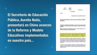 Nuño presentará en China modelos educativos implementados en México