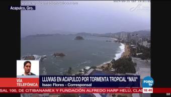 Lluvias en Acapulco por tormenta tropical Max