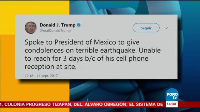 Donald Trump expresa condolencias a EPN por sismo