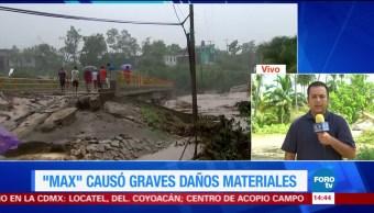 Max daña carreteras en la franja costera de Guerrero