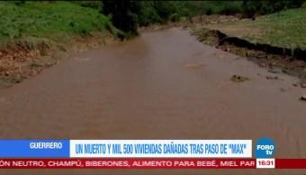 Máx deja un muerto y mil 500 viviendas dañadas en Guerrero