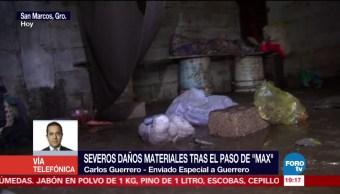 'Max' deja severos daños materiales en San Marcos Guerrero