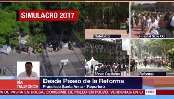 Desalojan edificios por simulacro de sismo en Paseo de la Reforma