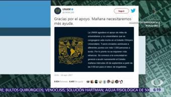 UNAM convoca estudiantes a formar brigadas de rescate por víctimas del sismo