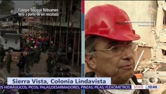 Buscan a personas atrapadas en edificio que colapsó en Lindavista tras sismo