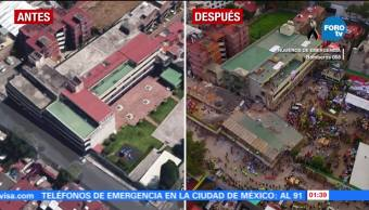 Colegio Rébsamen antes y después del sismo