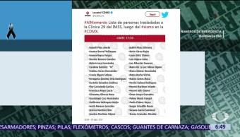 Locatel difunde lista de heridos hospitalizados tras sismo