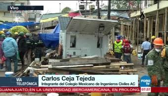 Revisión de edificios colapsados por el sismo en la Ciudad de México