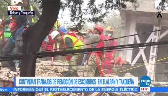 Rescatistas detectan a siete personas vivas entre escombros de multifamiliar de Taxqueña