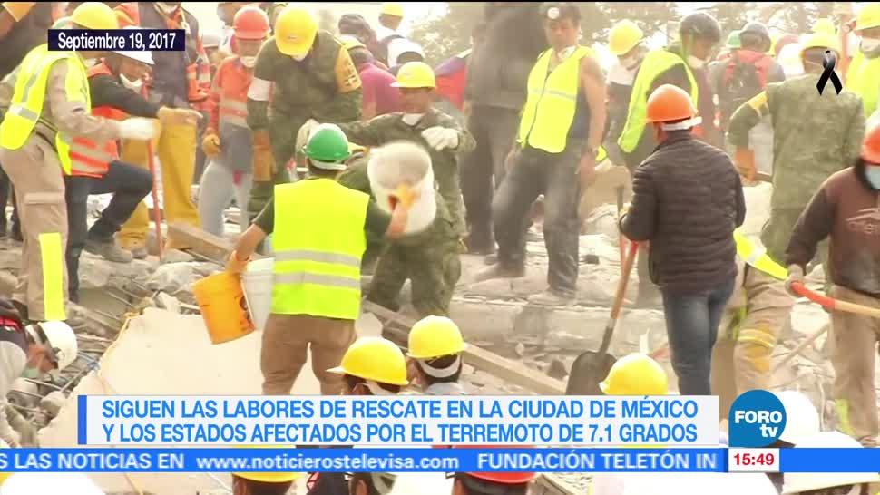 Siguen las labores de rescate tras sismo