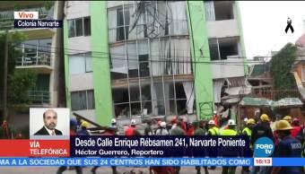 Continúa búsqueda de una señora en edificio desplomado de calle Rébsamen