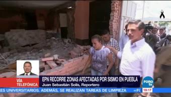 EPN concluye recorrido por daños del sismo en Puebla
