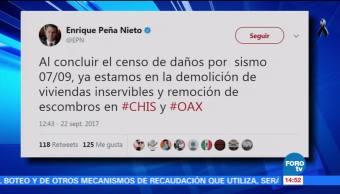 Por concluir censo de daños por sismo en Chiapas y Oaxaca EPN