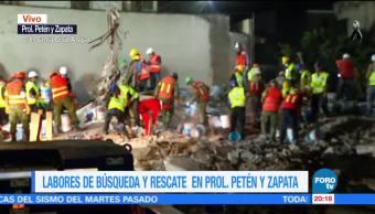 Demuelen losas de edificio que colapsó en Petén y Zapata