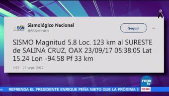 Sismo de 5.8 grados sacude Oaxaca