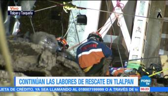Siguen labores de rescate en Tlalpan y Taxqueña