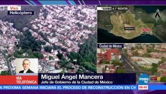 Mancera afirma que CDMX no reporta daños mayores tras sismo en Oaxaca