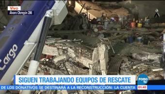 Siguen trabajando equipos de rescate en Álvaro Obregón