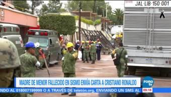 Madre de menor fallecido en sismo envía carta a Cristiano Ronaldo