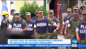 Secretario de Marina supervisa labores de rescate en colegio Rébsamen