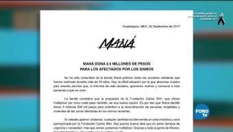 #LoEspectaculardeME: Maná dona 3.5 millones de pesos a afectados por los sismos