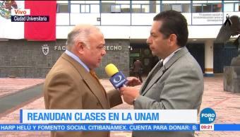 Reanudan clases en la UNAM