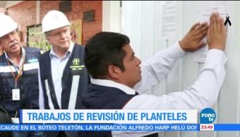 Autoridades revisan planteles escolares tras sismo