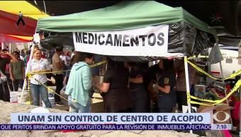 UNAM anuncia que no controla centro de acopio en Ciudad Universitaria