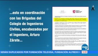 Colegio de Ingenieros Civiles de México apoyan revisión de escuelas tras sismos