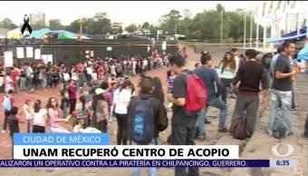Estudiantes entregan a UNAM control de víveres recaudados en Estadio Olímpico