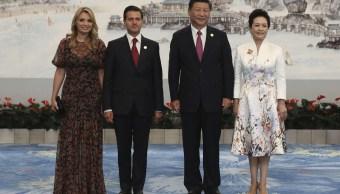 Angélica Rivera, Pena Nieto, Xi Jingping y Peng Liyuan