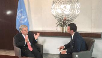 Antonio Guterres, secretario general de la ONU, en entrevista con Carlos Loret