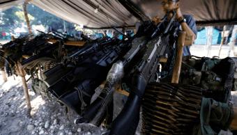 Armas entregadas por rebeldes de las FARC