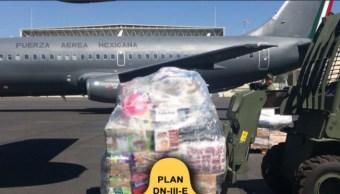 Avion traslada vivieres a oaxaca y chiapas para damnificados