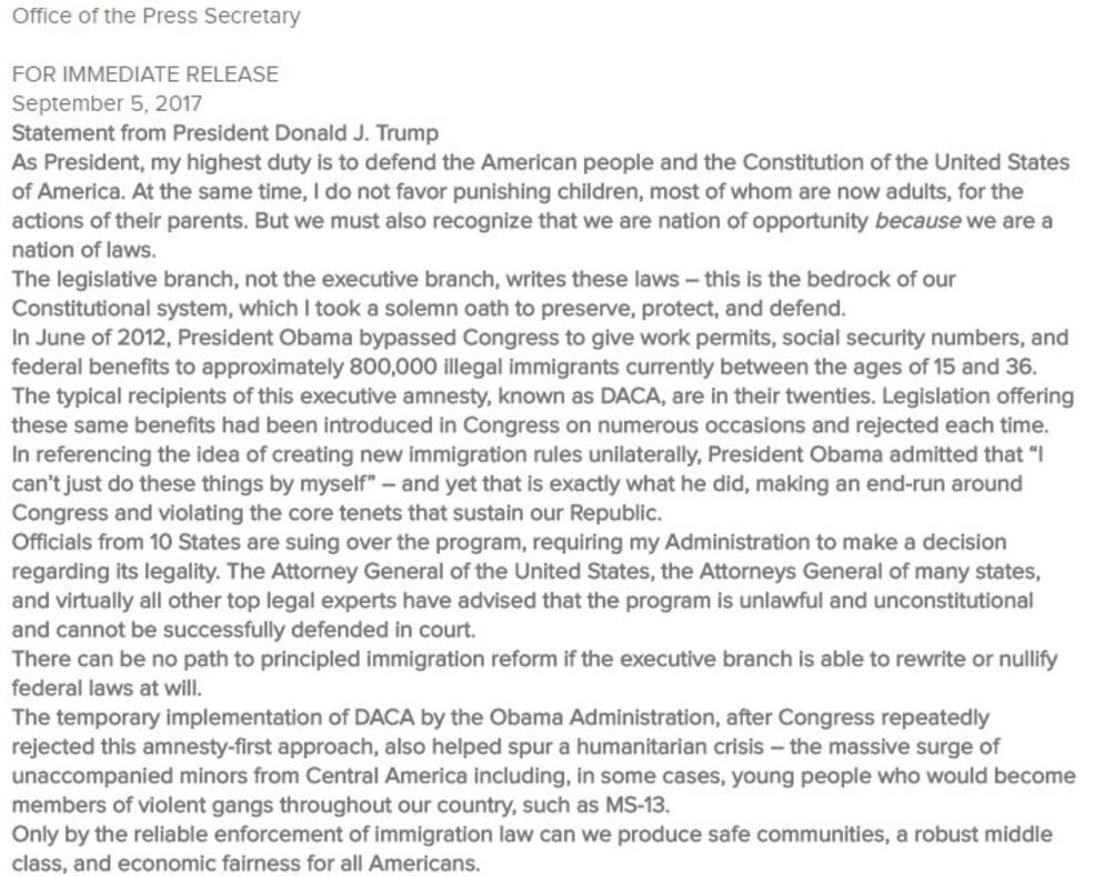 Trump: Resolveremos el problema de DACA con corazón y compasión