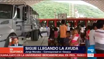 Continúa llegada ayuda damnificados sismo Oaxaca