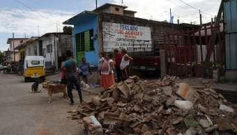 Escombros de edificio que colapsó en Juchitán, Oaxaca, tras sismo