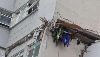 Esquina de un edificio colapsado en CDMX tras sismo del 19 de septiembre
