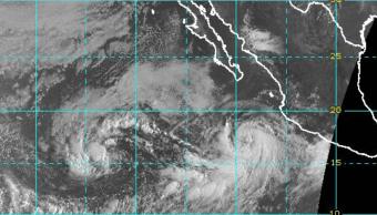 Imagen satelital de la tormenta tropical Norma y el huracán Max