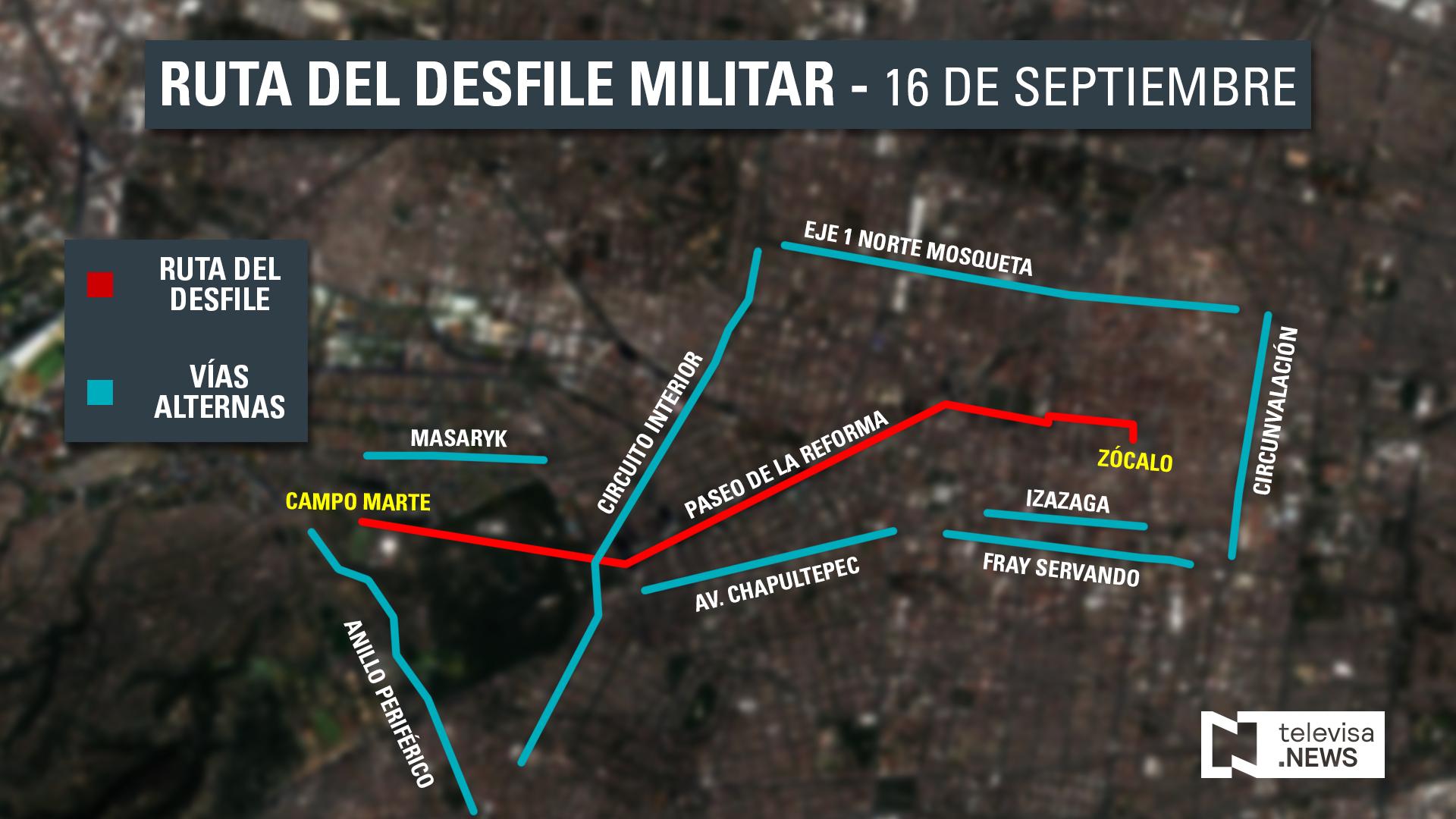 rutas alternas del desfile del 16 de septiembre