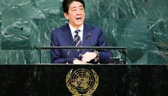 El primer ministro japonés Shinzo Abe, en la Asamblea General de la ONU, dice que el tiempo para el diálogo con Corea del Norte se termina