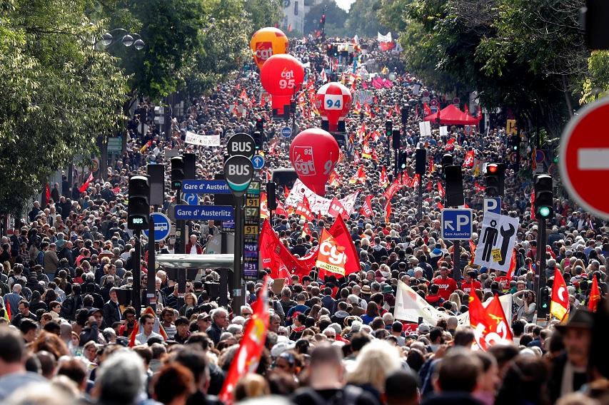Huelga nacional y protestas contra las reformas laborales en Francia
