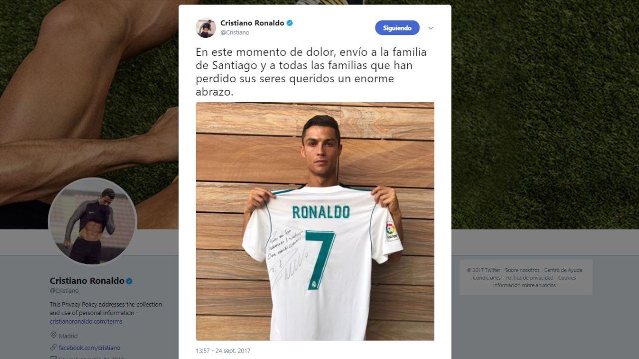 Tuit de Cristiano Ronaldo sobre menor fallecido en el Rébsamen