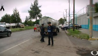 Usan a niños en Iztapalapa para robar pipas de agua tras sismo