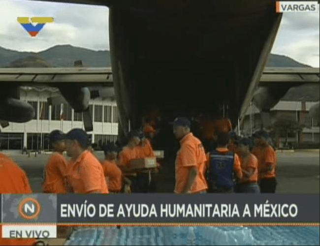 Envía Venezuela ayuda al pueblo mexicano