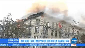 100 Bomberos Intentan Sofocar Incendio Nueva York