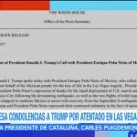 EPN expresa condolencias a Trump por atentado en Las Vegas