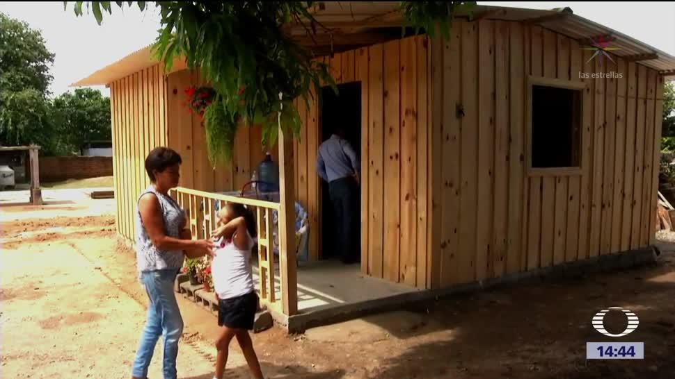 Casas de madera para damnificados en Chiapas