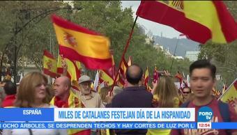 Miles de catalanes festejan el día de la hispanidad